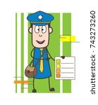 postman showing checklist vector | Shutterstock .eps vector #743273260