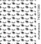seamless pattern with winking...   Shutterstock .eps vector #743277280