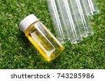 backgrounds of glassware in lab. | Shutterstock . vector #743285986