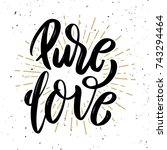pure love. hand drawn... | Shutterstock .eps vector #743294464