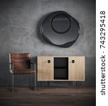 3d render of dark interior with ... | Shutterstock . vector #743295418
