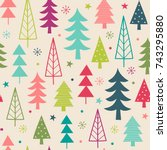 colorful christmas trees... | Shutterstock .eps vector #743295880
