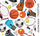 sport seamless pattern.... | Shutterstock .eps vector #743297143