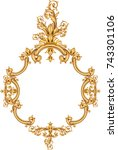 gold vintage frame isolated on... | Shutterstock .eps vector #743301106