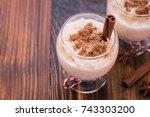 christmas sweet food  cream... | Shutterstock . vector #743303200