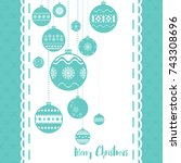 template christmas card  for... | Shutterstock .eps vector #743308696