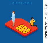 sim card flat isometric concept ... | Shutterstock . vector #743313310