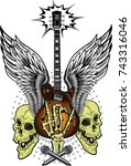 electric guitar and skull | Shutterstock . vector #743316046