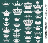 big collection of vector crown... | Shutterstock .eps vector #743317279