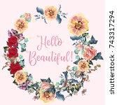 beautiful floral frame design... | Shutterstock .eps vector #743317294