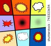 pop art elements set. comic...   Shutterstock .eps vector #743323654