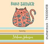 baby shower card template with... | Shutterstock .eps vector #743330458
