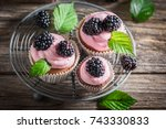 tasty blackberry cupcake with... | Shutterstock . vector #743330833