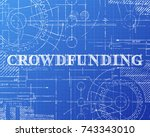 crowdfunding text with gear... | Shutterstock .eps vector #743343010