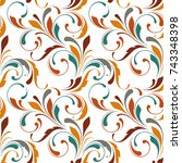 floral seamless pattern.... | Shutterstock .eps vector #743348398