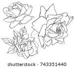black and white line... | Shutterstock .eps vector #743351440
