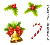 christmas decoration with... | Shutterstock .eps vector #743358916
