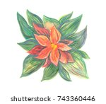 green and red stylized... | Shutterstock . vector #743360446