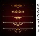 calligraphic design elements | Shutterstock .eps vector #743361100