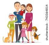 family illustration   5 people... | Shutterstock .eps vector #743364814