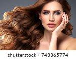 beauty woman portrait.... | Shutterstock . vector #743365774