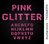 pink glitter alphabet fonts...   Shutterstock .eps vector #743368594