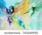 watercolor flower abstract... | Shutterstock . vector #743369050