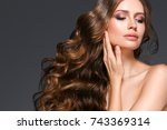 beautiful hair woman beauty... | Shutterstock . vector #743369314