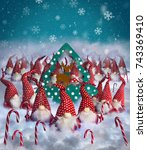 Small photo of Christmas Elves decorations congratulations postcard background