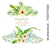 watercolor tropical palm leaves ... | Shutterstock . vector #743374360