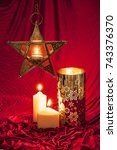 christmas candles with a star... | Shutterstock . vector #743376370