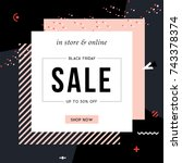 Sale sign design in contemporary style. Vector illustration. | Shutterstock vector #743378374