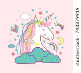 unicorn vector icon isolated on ... | Shutterstock .eps vector #743379919