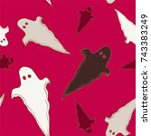 halloween seamless pattern with ... | Shutterstock .eps vector #743383249