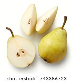 fresh whole pear and slices... | Shutterstock . vector #743386723