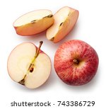fresh whole apple and slices... | Shutterstock . vector #743386729