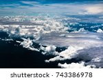 view trough airplane window.... | Shutterstock . vector #743386978