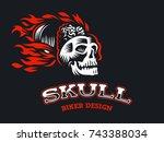 skull in the fire. biker emblem.... | Shutterstock .eps vector #743388034
