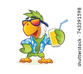 exotic cartoon parrot with... | Shutterstock .eps vector #743391598