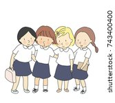vector illustration of students ... | Shutterstock .eps vector #743400400
