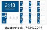 2018 new year calendar simple... | Shutterstock .eps vector #743412049