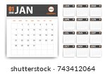 2018 calendar in paper stickers ... | Shutterstock .eps vector #743412064