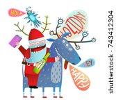 reindeer and santa monsters... | Shutterstock . vector #743412304