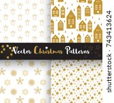 vector christmas pattern gold... | Shutterstock .eps vector #743413624