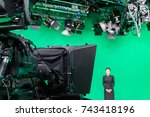 newscaster or announcer working ... | Shutterstock . vector #743418196