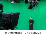 blur image of newscaster or... | Shutterstock . vector #743418226