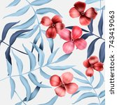 seamless tropical flower  plant ... | Shutterstock . vector #743419063