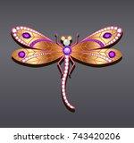 illustration of a dragonfly... | Shutterstock .eps vector #743420206