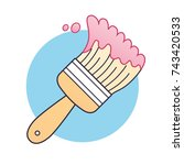 pink paint brush icon | Shutterstock .eps vector #743420533