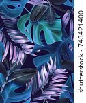 tropical palm leaves seamless... | Shutterstock . vector #743421400